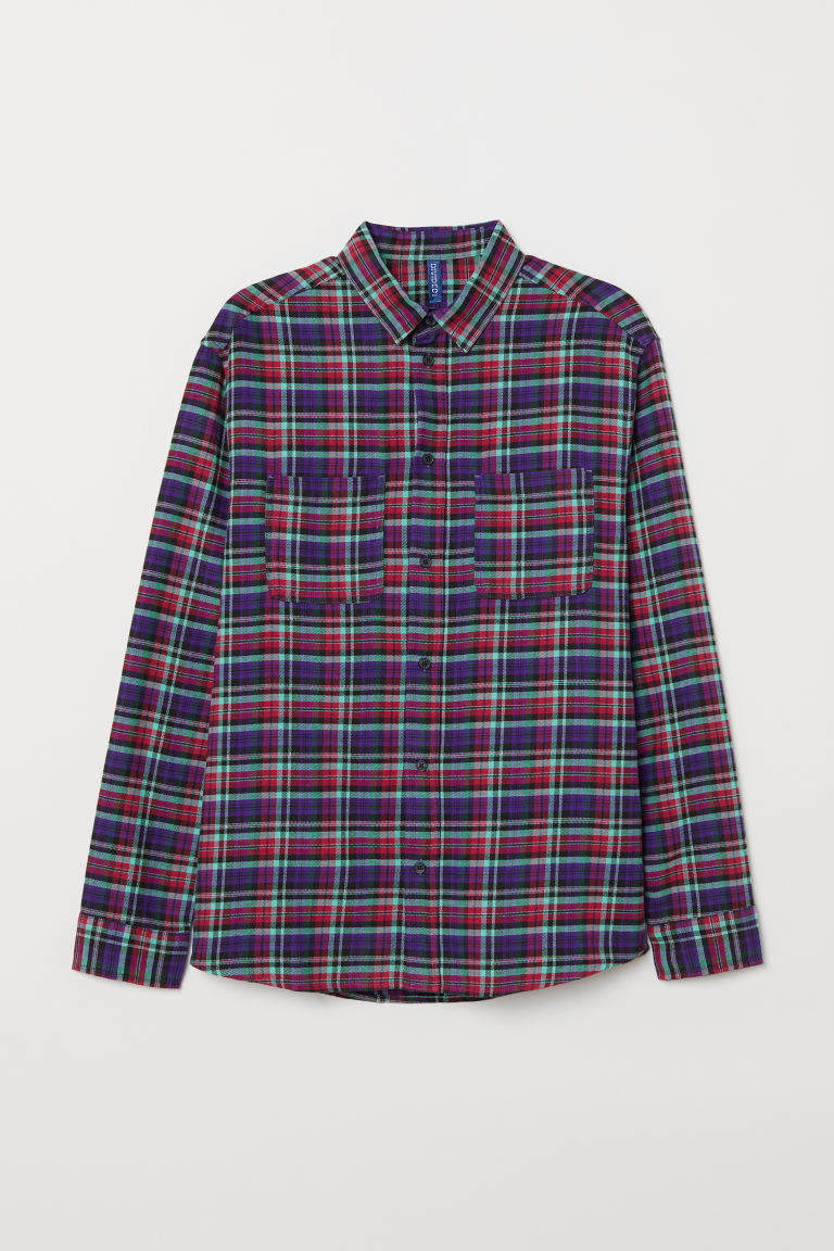 Cotton flannel shirt - Red/Purple checked - Men | H&M CN