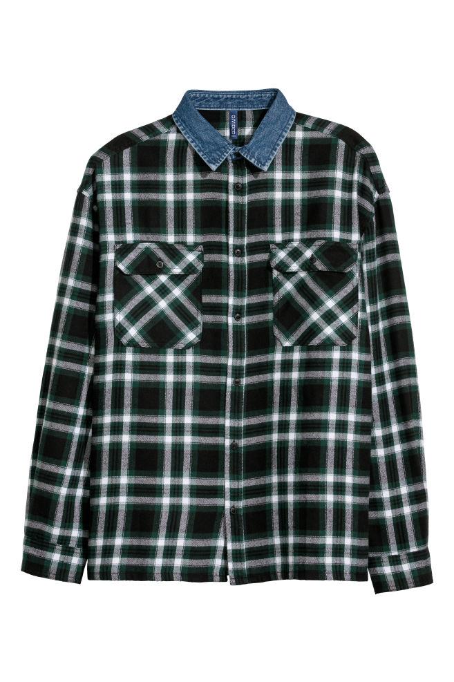 c7014552a2 Denim-collared Flannel Shirt - Black plaid -