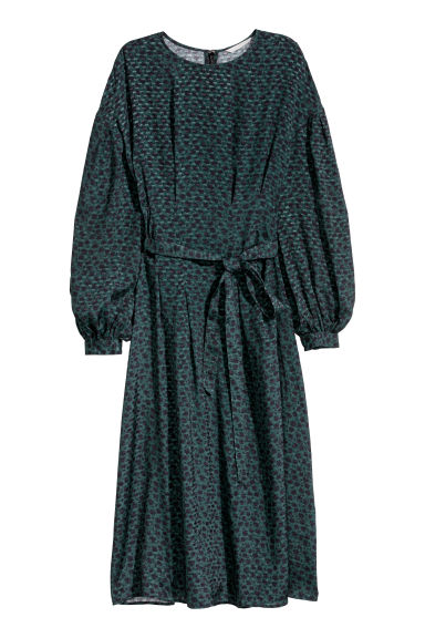Calf-length dress - Dark green/Patterned - Ladies | H&M
