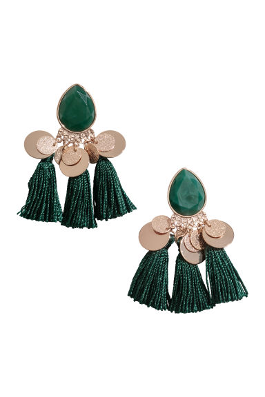 Tasselled earrings - Dark green -  | H&M CN