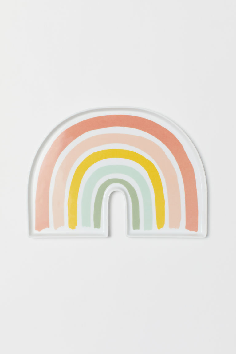 Plate with a motif - Natural white/Rainbow - Home All | H&M CN