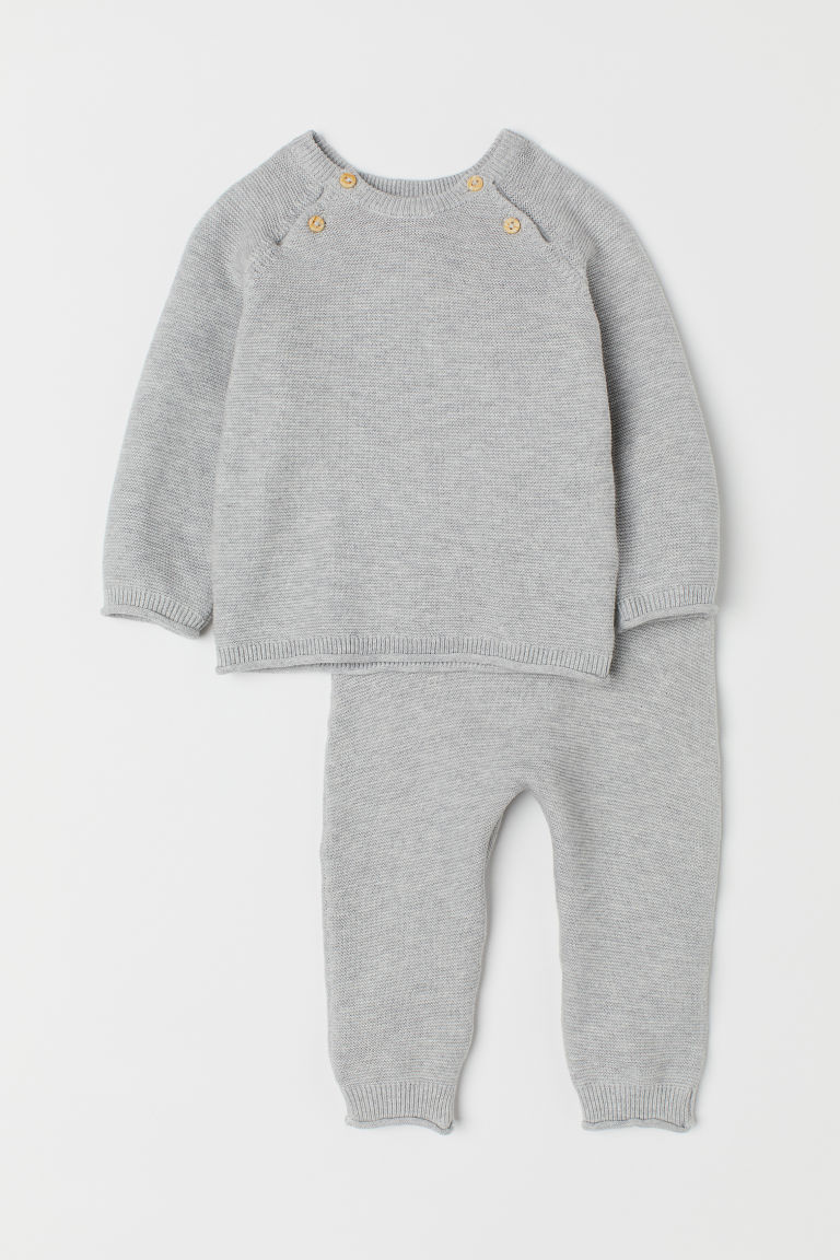 Knitted jumper and trousers - Grey marl - Kids | H&M CN