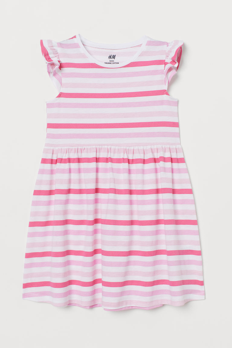Jersey dress - Pink/Striped - Kids | H&M CN