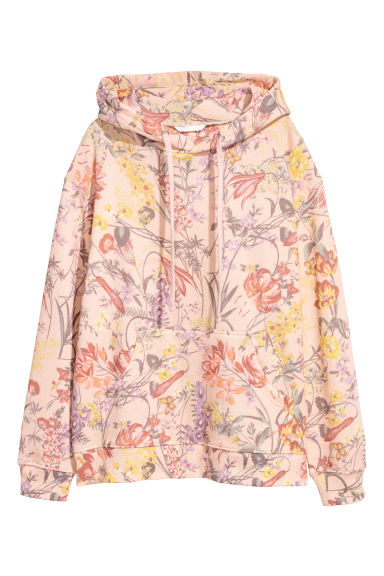 Printed hooded top - Apricot/Patterned - Ladies | H&M