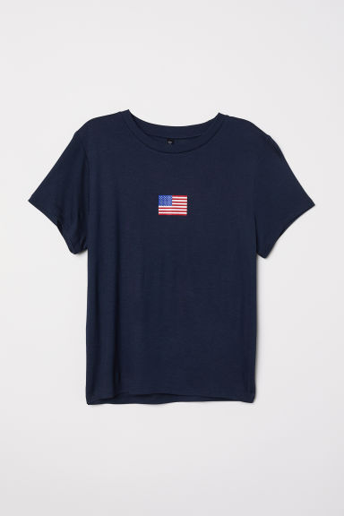 T-shirt with a motif - Dark blue/Flag - Ladies | H&M