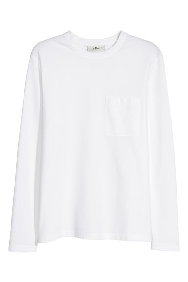 Pima cotton top - White -  | H&M