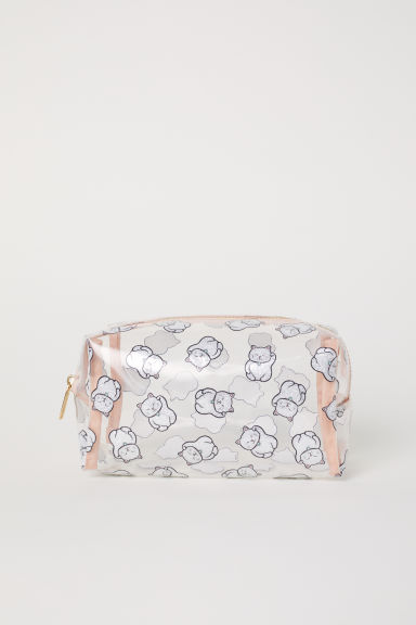 Transparent make-up bag - Powder pink/Cats -  | H&M CN