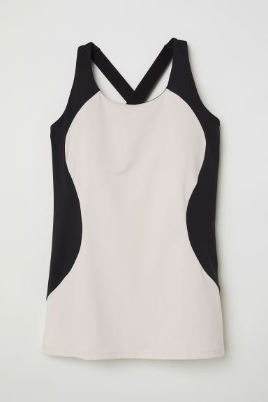 Sports vest top - Cream/Black - Ladies | H&M