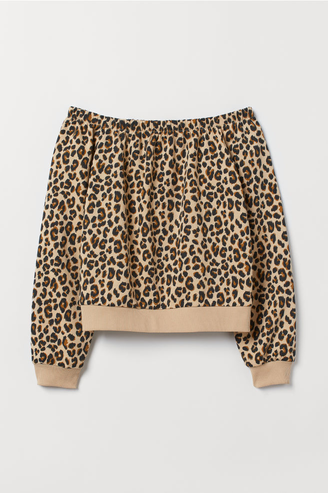 ed7ad7b1c8 Off-Shoulder-Sweatshirt - Hellbeige/Leopardenmuster -   H&M ...