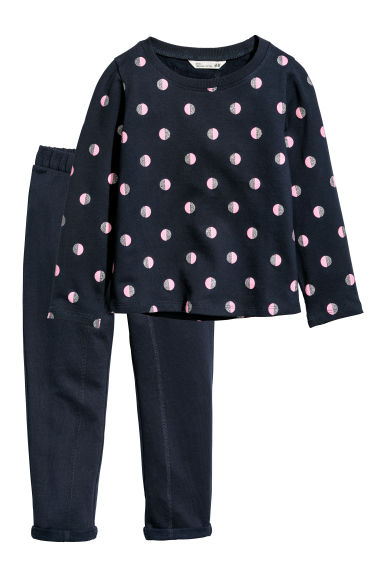 Top and trousers - Dark blue/Spotted - Kids | H&M CN