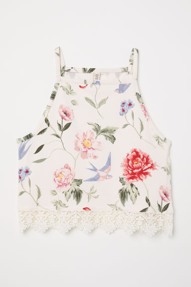 Top with lace trim - White/Floral - Ladies | H&M