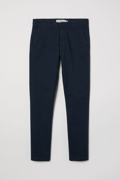 Skinny Fit Cotton Chinos - Dark blue - Men | H&M CA