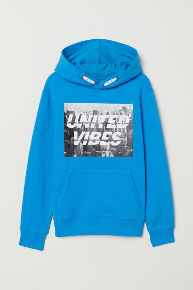 Printed hooded top - Bright blue/United Vibes - Kids | H&M