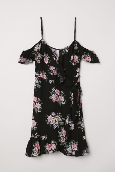 Wrap dress with flounces - Black/Floral -  | H&M CN