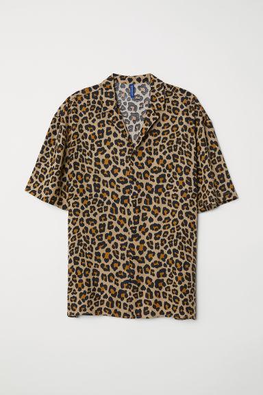 Patterned Resort Shirt Beige Leopard Print Men H Amp M Us