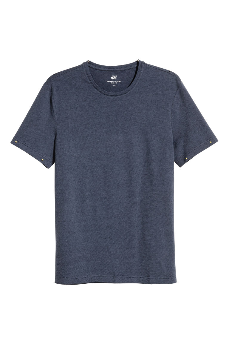 Round-necked T-shirt Slim fit - Dark blue/Narrow striped - Men | H&M