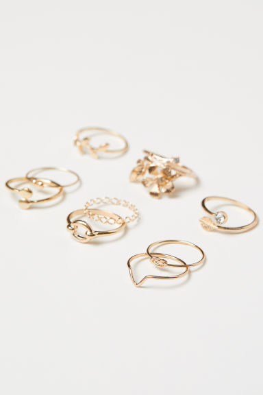 9-pack rings - Gold-coloured - Ladies | H&M IN
