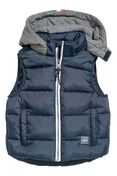 Padded gilet with a hood - Dark blue -  | H&M