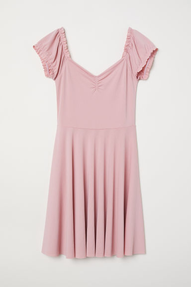 Off-the-shoulder dress - Powder pink -  | H&M CN