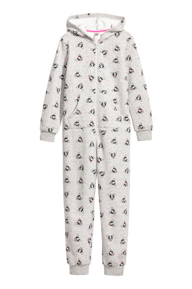 Hooded sweatshirt all-in-one - Light grey/Dogs - Kids | H&M CN