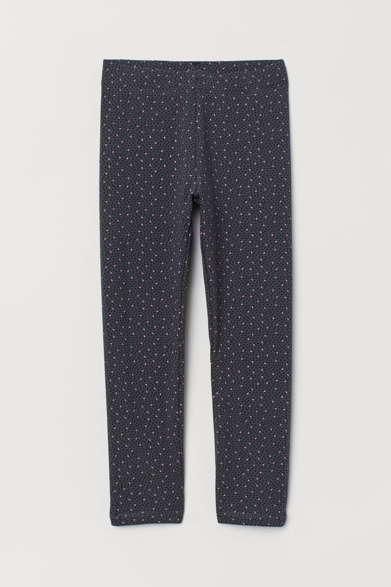 Leggings with brushed inside - Dark grey/Hearts -  | H&M CN