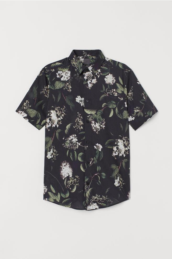 Bloemetjes Overhemd.Overhemd Met Dessin Slim Fit Zwart Bloemen Heren H M Nl