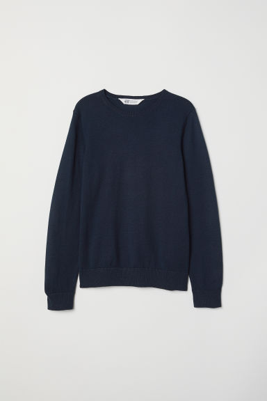 Fine-knit jumper - Dark blue -  | H&M CN