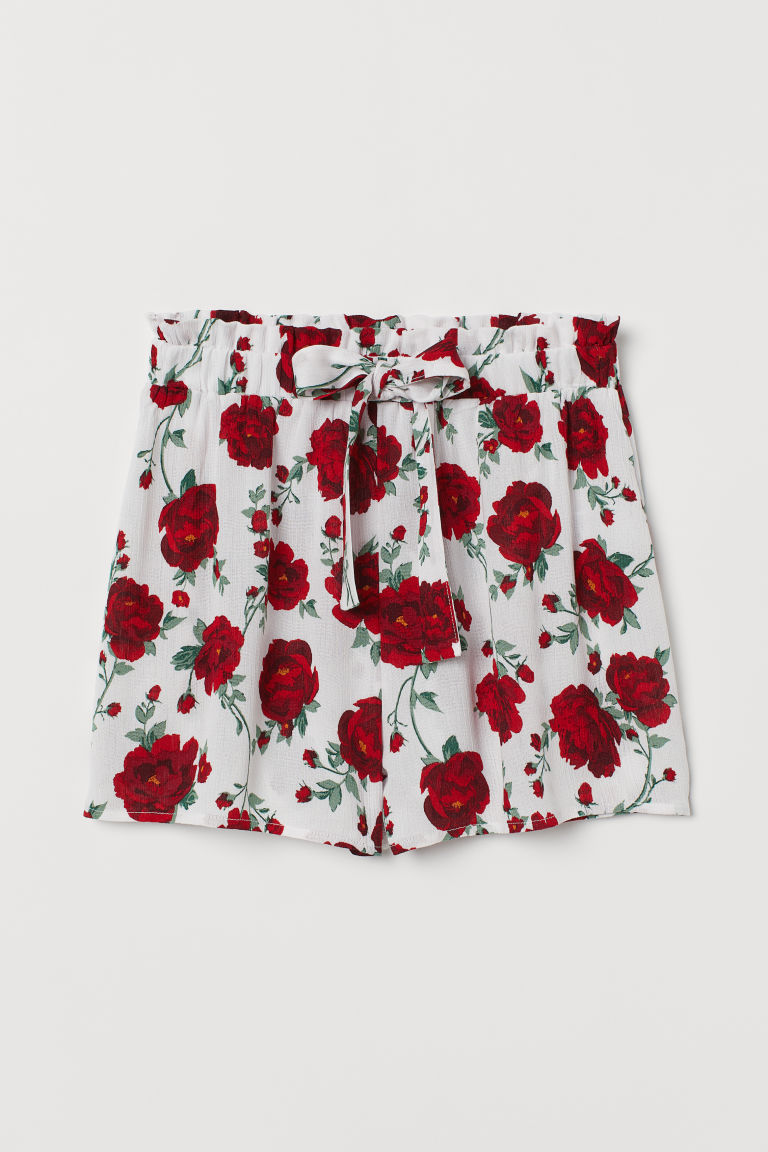 Tie-belt shorts - White/Floral -  | H&M GB