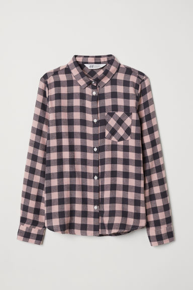 Cotton flannel shirt - Dark grey/Pink checked - Kids | H&M