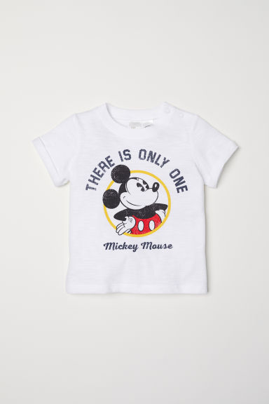 Printed T-shirt - White/Mickey Mouse -  | H&M CN
