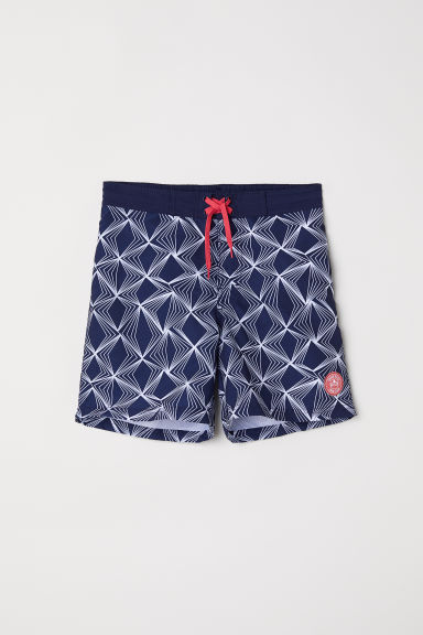 Patterned swim shorts - Dark blue/Patterned - Kids | H&M CN
