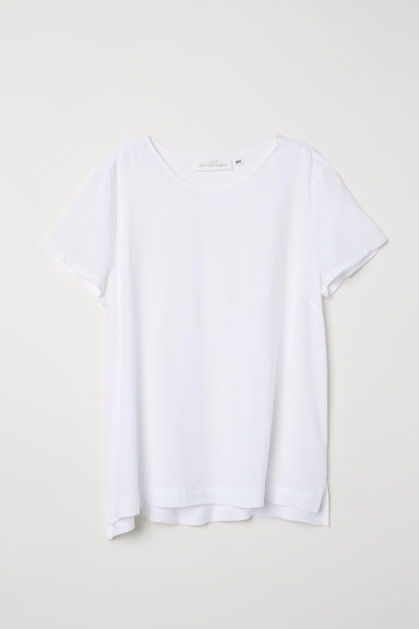 Short-sleeved blouse - White - Ladies | H&M CN