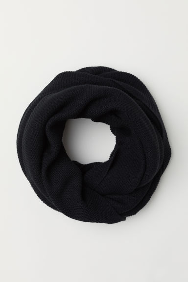 Knitted tube scarf - Black -  | H&M GB