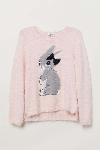 Fluffy jumper - Light pink/Rabbit - Kids | H&M CN