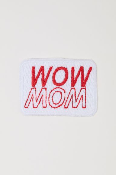 Iron-on patch - White/Wow Mom -  | H&M