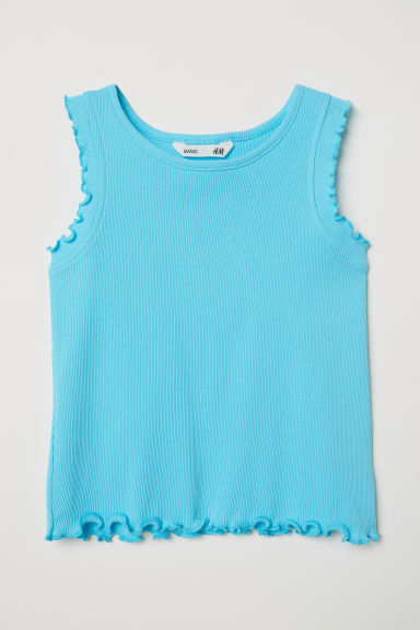 Ribbed vest top - Turquoise -  | H&M CN