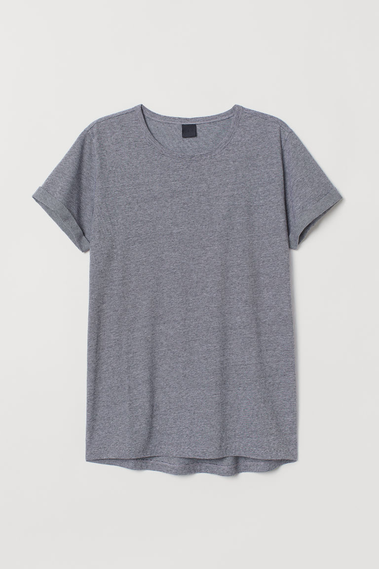 T-shirt in jersey flammé - Grigio scuro/righine - UOMO | H&M IT