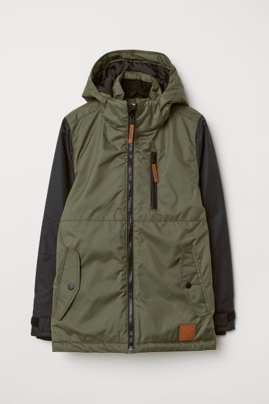 Water-repellent padded jacket - Khaki green/Black - Kids | H&M