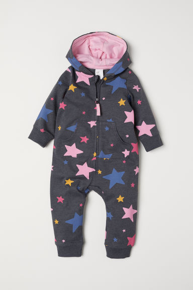 Sweatshirt all-in-one suit - Dark grey marl/Stars - Kids | H&M CN