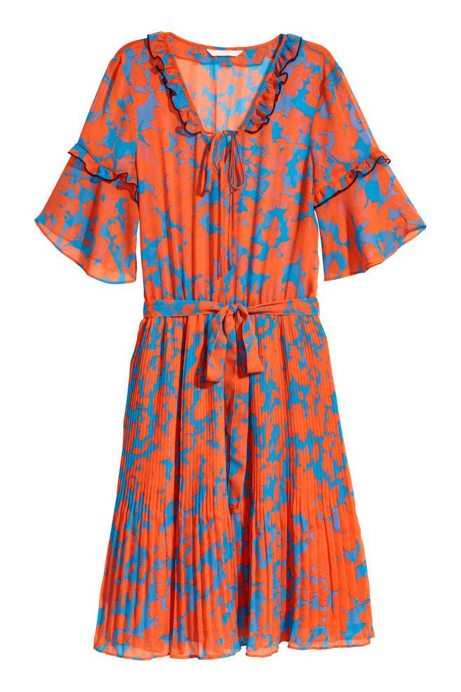 6591aaa334a6 Vzorované šifónové šaty - oranžová modrá - ŽENY