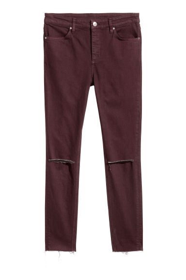 Skinny High Ripped Jeans - Burgundy -  | H&M