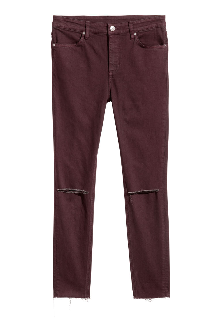 Skinny Regular Ripped Jeans - Bordo -  | H&M TR