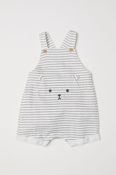 Cotton dungaree shorts - White/Grey striped - Kids | H&M