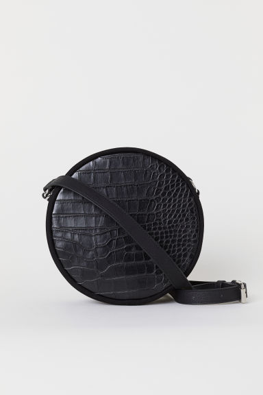 Round shoulder bag - Black/Crocodile-patterned - Ladies | H&M