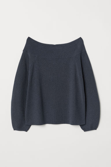 Off-the-shoulder jumper - Dark grey-blue - Ladies | H&M