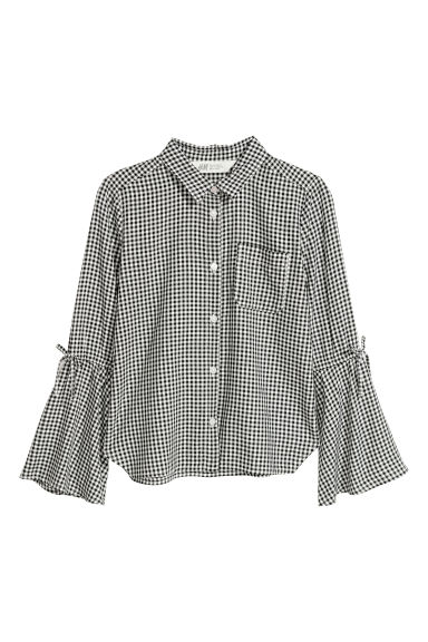 Viscose blouse - Black/White checked - Kids | H&M CN