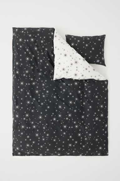 Patterned duvet cover set - Dark grey/Stars - Home All | H&M CN