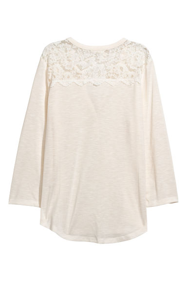 Top con carré in pizzo - Bianco naturale - DONNA | H&M IT