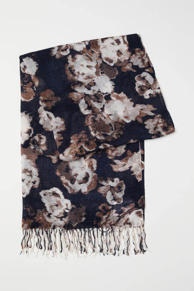 Woven scarf - Dark blue/Brown floral - Ladies | H&M CN