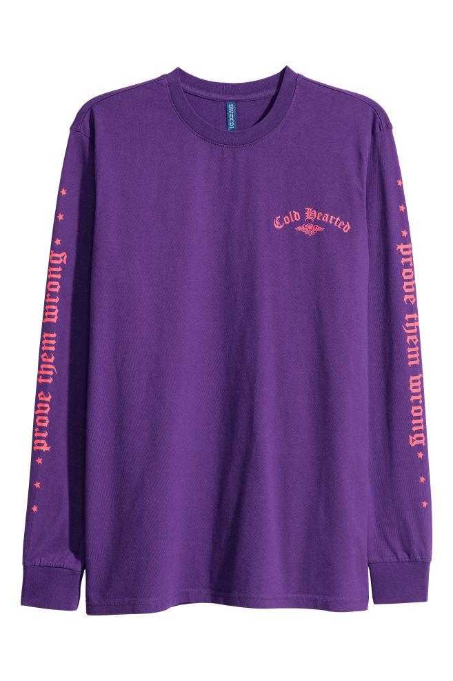 f2c40d16cac0 Long-sleeved Shirt - Purple - Men   H&M ...